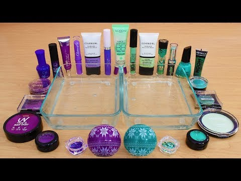 Purple vs Green - Mixing Makeup Eyeshadow Into Slime Special Series 238 Satisfying Slime Video