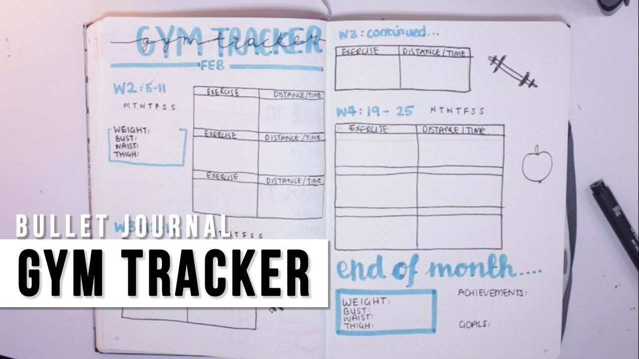 bullet journal fitness gym tracker youtube