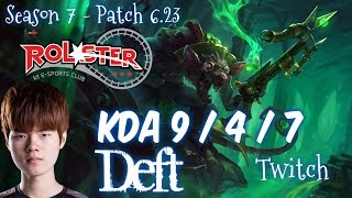 KT Deft TWITCH vs JHIN ADC - Patch 6.23 KR Ranked