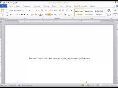 Creating an APA Title Page - YouTube