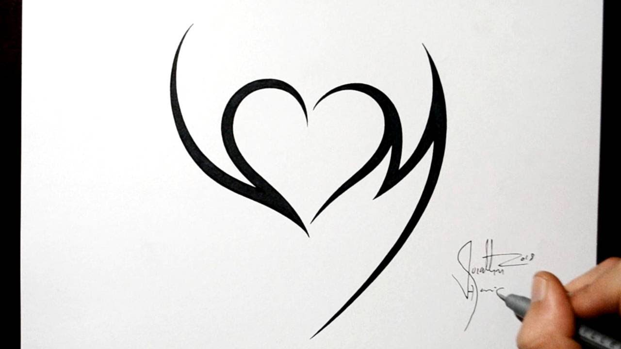 Combining Initials V and M with a Heart - Tribal Tattoo Design