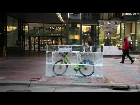 Nice Ride Bikes in Ice