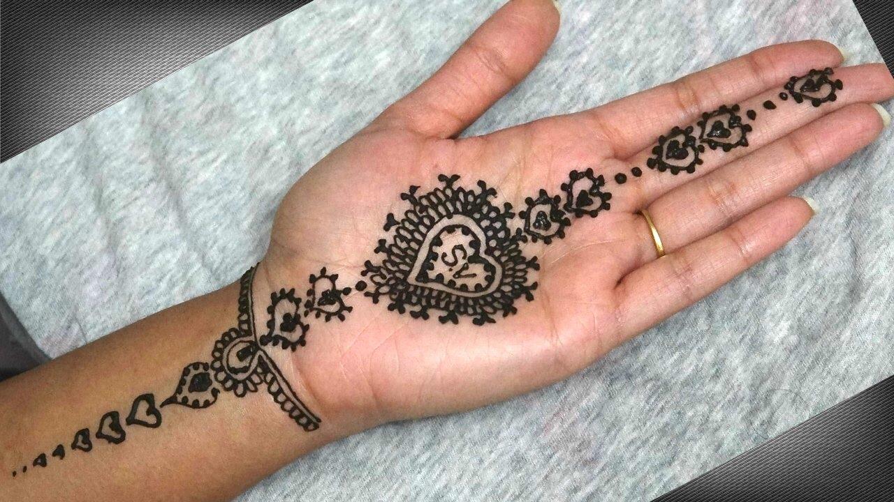 Simple Heart Henna Designs