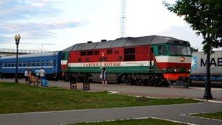 ТЭП70-0428 с поездом  №670Б Минск – Гомель прибывает на станцию Светлогорск-на-Березине