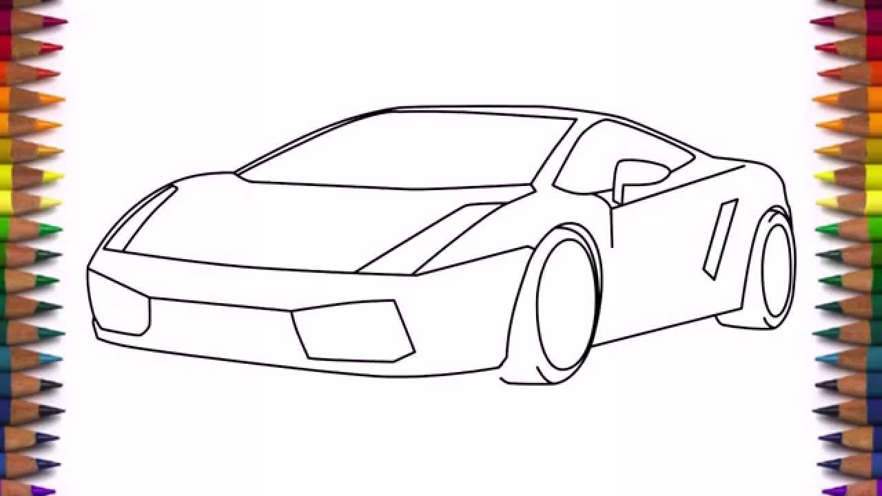 How to draw a car Lamborghini Gallardo easy step by step for kids ...