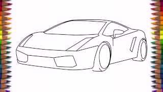 How to draw a car Lamborghini Gallardo easy step by step for kids and beginners(How to draw a sports car Lamborghini Gallardo easy step by step for kids and beginners., 2015-11-03T23:10:45.000Z)