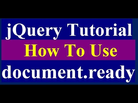 how to use jquery document ready function - jquery tutorial
