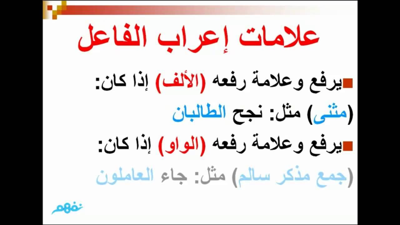 علامات إعراب الفاعل لغه عربيه الصف الخامس الإبتدائي نفهم Youtube