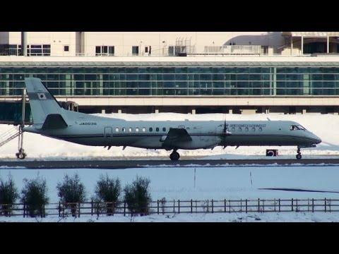 [飛行検査機] JCAB SAAB 2000 JA003G TAKE-OFF TOYAMA Airport 富山空港 2012.12.27
