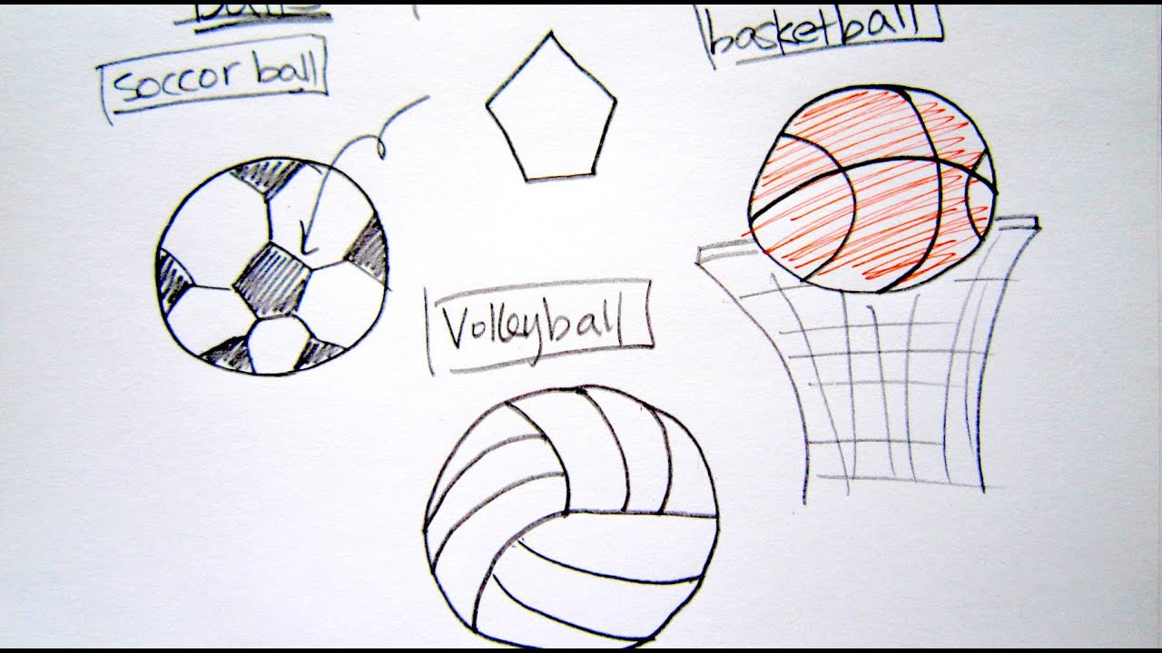 how to draw sport balls basketball soccer ball volleyball easy drawing tutorial for beginners - Sports Drawing Pictures