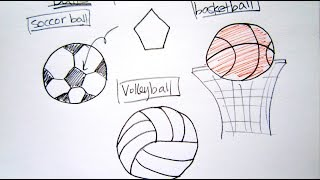 How to Draw Sport Balls - Basketball, Soccer Ball, Volleyball - Easy Drawing Tutorial For Beginners