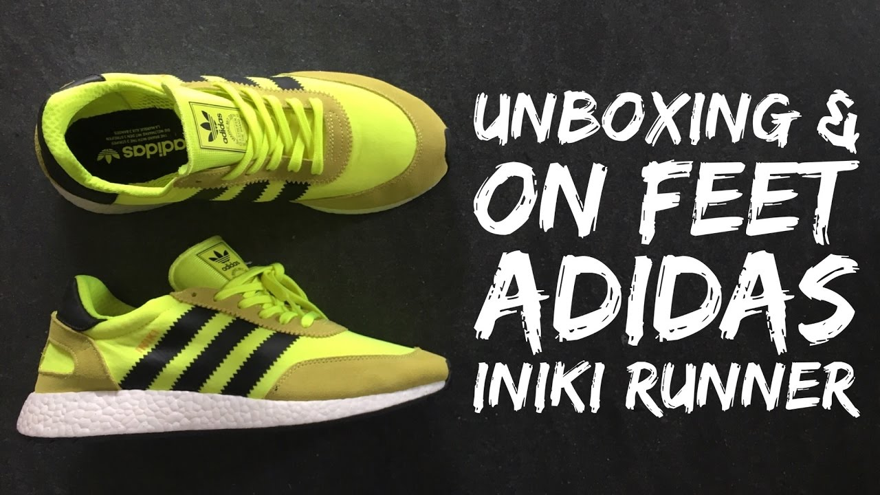 meet da479 1fa30 Adidas INIKI RUNNER BOOST solar yellowcore black  UNBOXING  ON FEET   fashion shoes  2017  HD