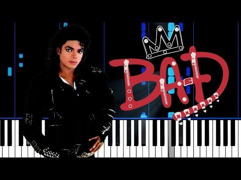 Michael Jackson - Bad - Colored Piano Tutorial  + Sheet Music