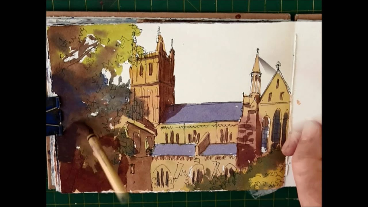 pen and ink watercolour sketching easy building watercolour tutorial youtube - Free Sketches To Paint