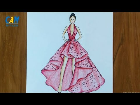 Easy Drawings How To Draw A Wonderful Dress Learn To Draw For Beginners Easy Sketches Youtube