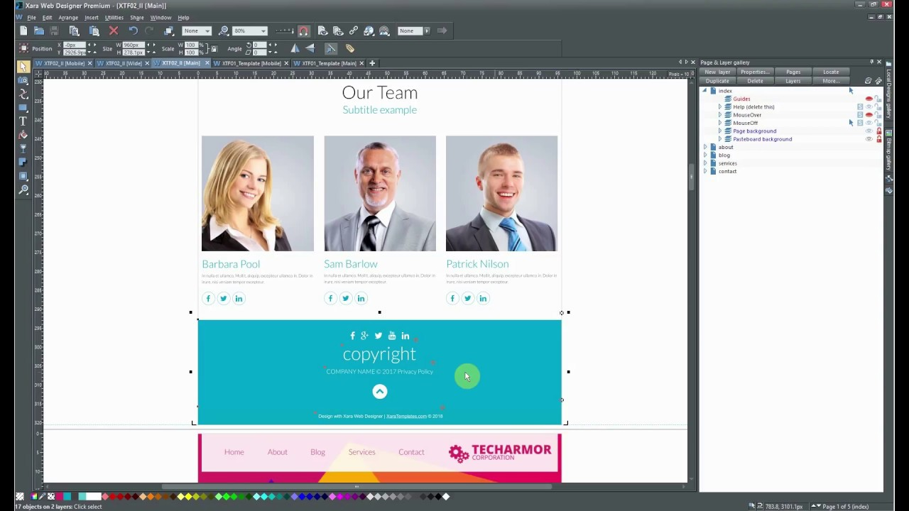 How To Use Footer From Other Template Xara Web Designer Youtube