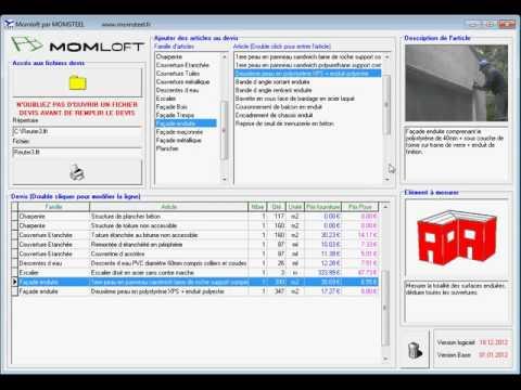 Exemple d\u0027utilisation du logiciel Momloft pour le calcul du cout d - Logiciel Pour Maison D
