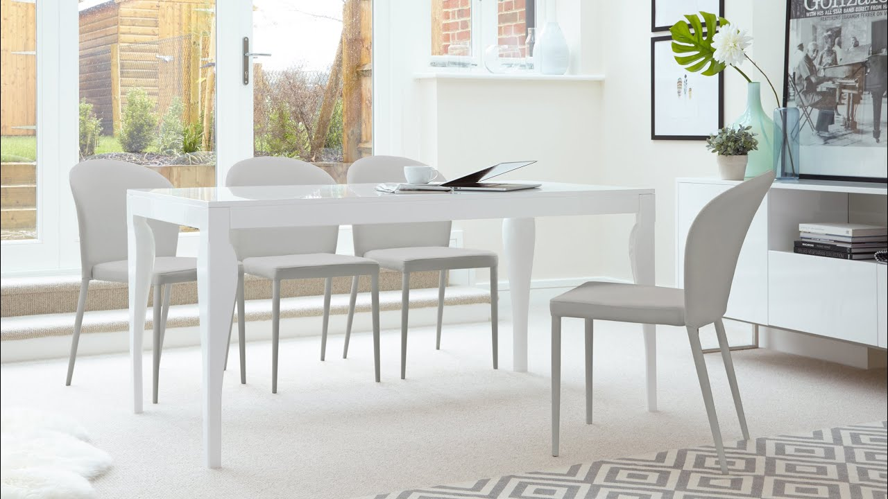 Marvelous 6 Seater White Gloss Dining Table And Stackable Dining Chairs Part 28