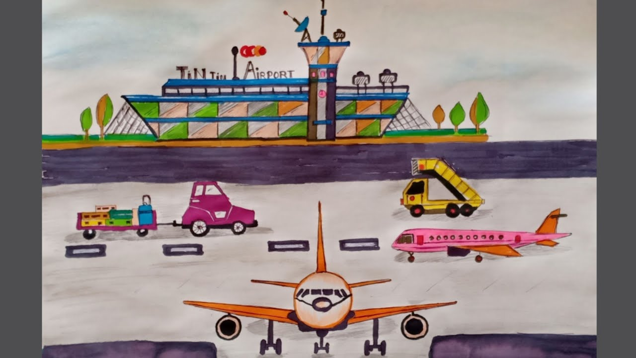 How To Draw An Airport Step By Step How To Draw An Airpalne And
