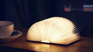 USB RECHARGEABLE LED FOLDABLE WOODEN BOOK SHAPE DESK LAMP NIGHTLIGHT