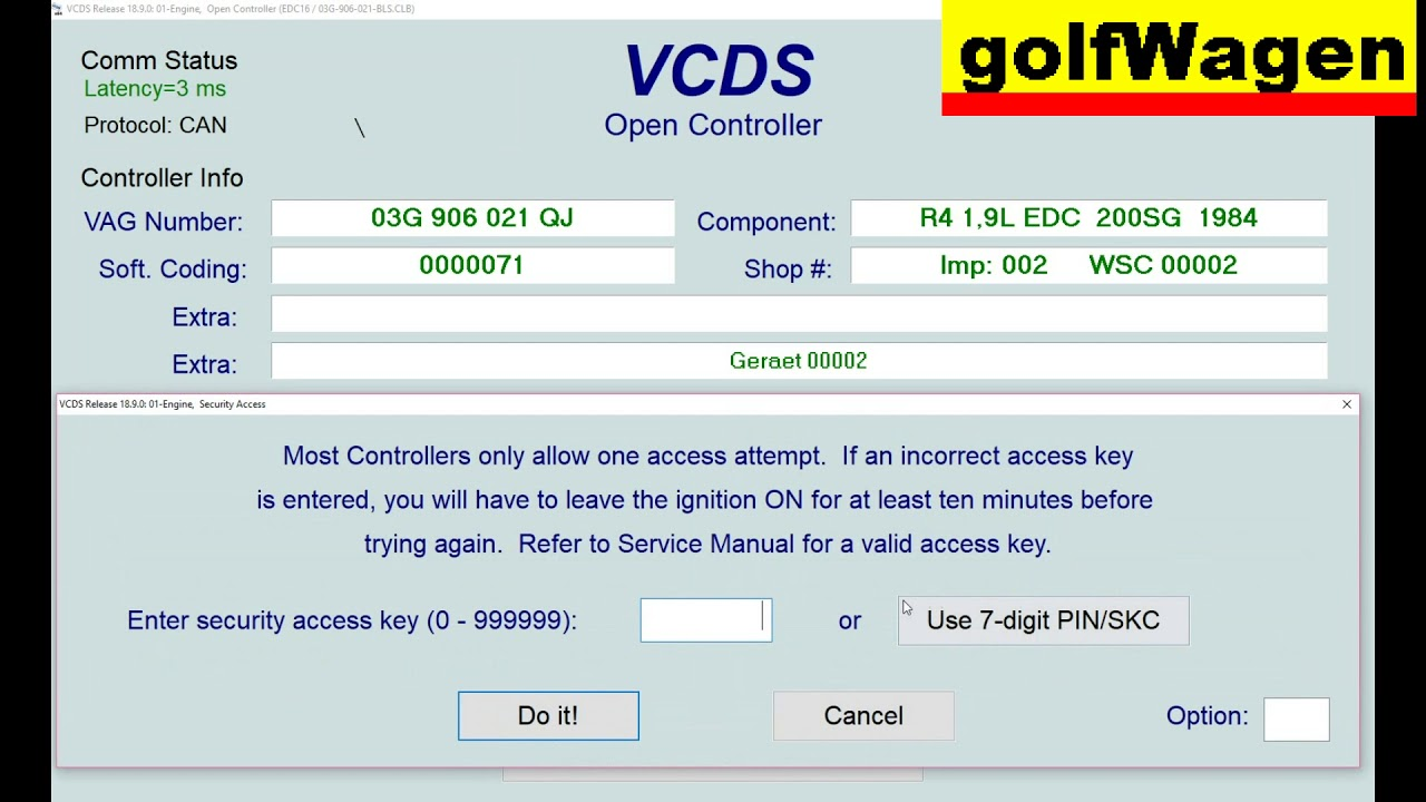 VCDS-VAG 01-engine ECU security access code? /VW Golf 5 tested/