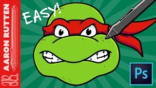 How to Draw a Ninja Turtle (TMNT) 🐢 Easy Photoshop Tutorial