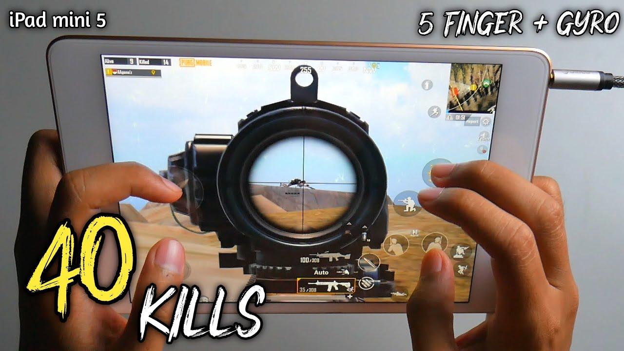 iPad Mini 5 PUBG 5 Finger + Gyro Solo Vs Squad Full Handcam ( 2 Match 40 Kills )