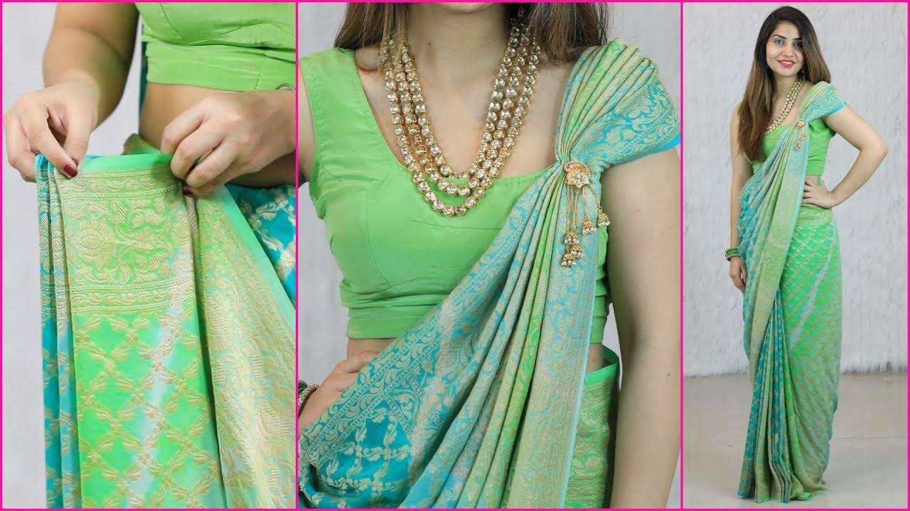 Image result for 2 Mins में साड़ी की प्लेट्स और पल्लू लगाने का एकदम नया तरीका - How To Wear Saree Perfectly   Anaysa
