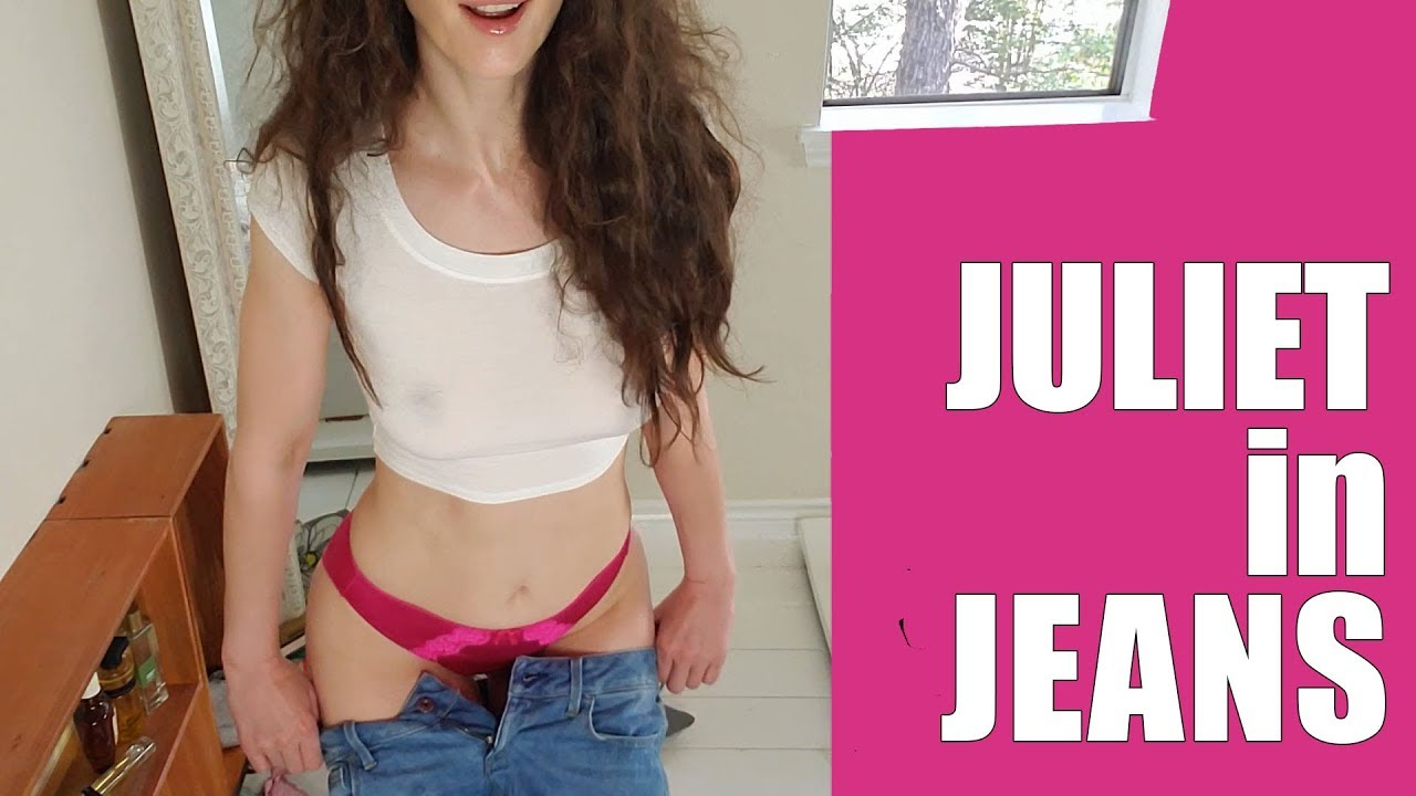 Hot pink satin undies try-on, with jeans!