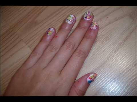 Rainbow Splatter Nail Design Youtube