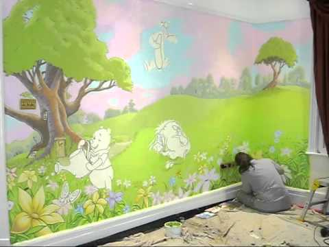 fabulous winnie the pooh murals painted in playroom. Black Bedroom Furniture Sets. Home Design Ideas