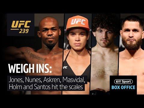 Live UFC 239 weigh-ins | Jon Jones, Amanda Nunes, Ben Askren and Jorge Masvidal take to the scales