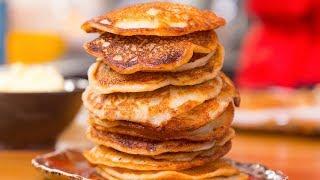 Нежные оладьи с яблоками и медовым маслом. Готовим на ряженке. Вкусный завтрак.