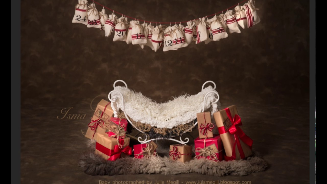 Christmas Iron Bed Chair Gifts With Dark Background