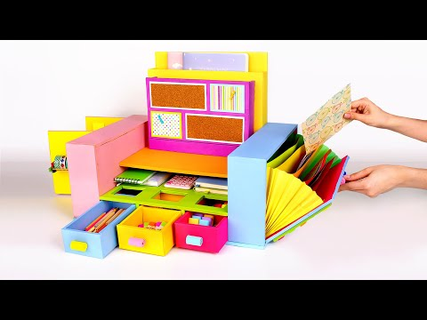 Bright And Colorful Cardboard Desktop Organizer For All Your Stationary