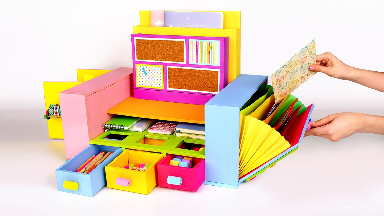 Download Bright And Colorful Cardboard Desktop Organizer For All Your Stationary