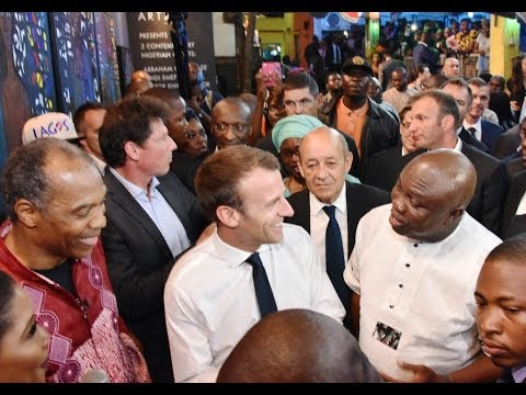 Humble! See how France president Shake And Snap Pictures With Lagosians As He Step Out With Ambode
