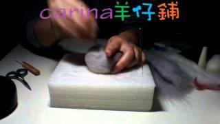 手作灰色小貓羊毛氈教學, video by carina 羊仔店Instagram: carina_wool.