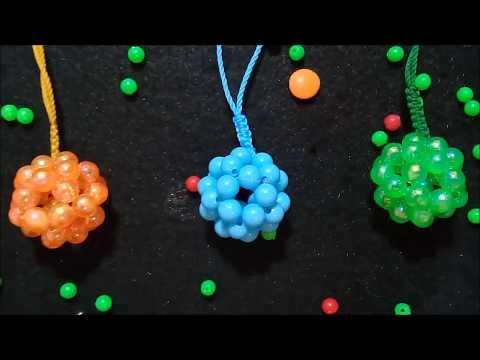 Tehnik dasar merangkai mote manik//gantungan kunci bola dari mote//keychain beads ball.