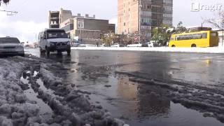 Նոր Նորքի փողոցները՝ առավոտյան ձնհալից հետո