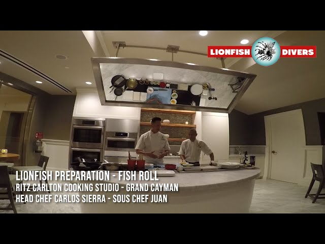Cooking Lionfish - Lionfish Roll - Sushi - Chef Carlos Sierra, Ritz Carlton