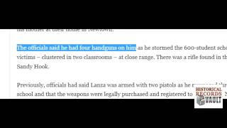 Police Change Story, Found 2 More Handguns Near The Shooter: Newtown Connecticut School Shooting