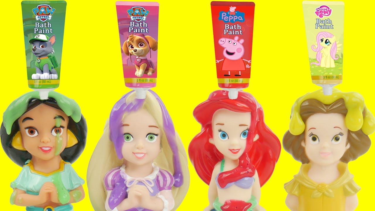 Disney princess bath toys for kids learning - YouTube