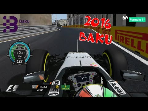 rFactor F1 2016 BAKU @ OnBoard Sergio Pérez   FORCE INDIA # LAP [HD]