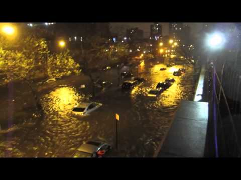 Hurricane Sandy Storm Surge by ConEd Power Plant. New York City