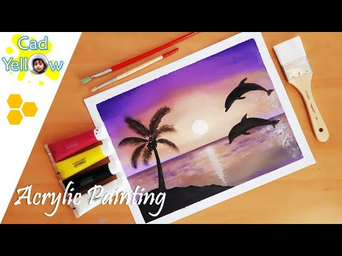 Dolphins at Sunset Acrylic Painting | Relaxing Demo