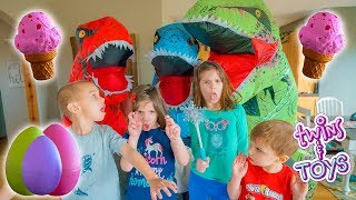 GIANT T-Rex Dinosaurs GIVE Twins HUGE Surprise Egg SQUISHIES!!