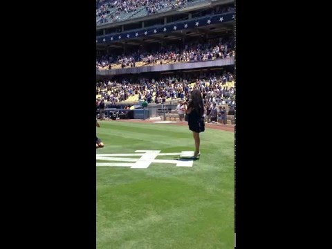 NATIONAL ANTHEM X FACTOR FINALIST STACY FRANCIS DODGERS GAME