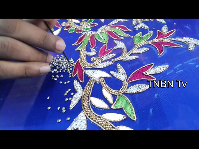 hand embroidery designs for beginners | simple maggam work blouse designs, basic embroidery stitches