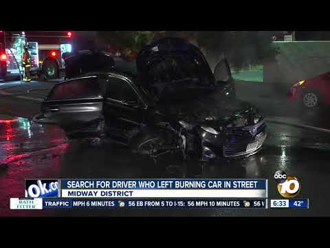 Search for driver who left burning car in San Diego street
